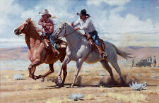 Canvas Print Picture Oil Painting Cowgirl and Cowboy on canvas 12x16 Inches L168