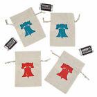 Mini Rustic Patriotic Canvas Drawstring Treat Bags - Party Supplies - 12 Pieces
