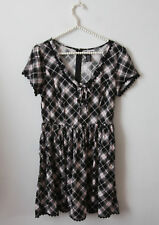 Hot Topic Gray Black Red Plaid Flare Skater Dress Size M Lace Up Goth Grunge