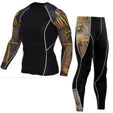 Men Sports suit Gym Compression wear Workout Running Long Pants T shirts Dri fit