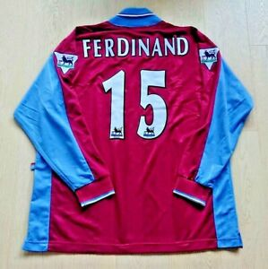 1997-98 West Ham United Home Shirt L/S Rio Ferdinand #15 size XL Mega Rare