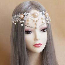 Lace Headband Ladies Pearl Punk Gothic Hair Crown Elastic Rope Headpiece Jewelry