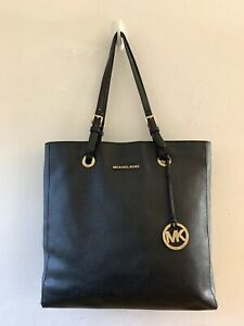 Genuine Authentic Michael Kors Large Black Saffiano Leather Tote Shoulder Bag