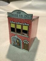 SCARCE Vintage 1914 WEST BROS FireHouse TIN LITHO CANDY CONTAINER INVP2222