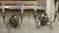 Vintage Pair of Satin Brass Wall Sconces - Made in Italy