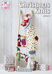 King Cole Christmas Knits Book 8 Stocking Festive Santa Snowman Drummer Boy Toy