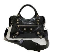 Balenciaga Giant City Women's black Leather glossy Handbag,Shoulder Bag Black
