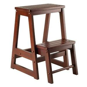 Winsome Wood -Folding Step Stool in Antique Walnut (Two Levels) BRAND NEW