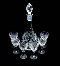 Vintage Bohemia crystal large sparkly decanter & 6 port glasses