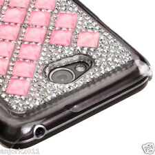 LG Ultimate 2 L41C Snap Fit 3D Diamante Back Cover Hard Case Lite Pink