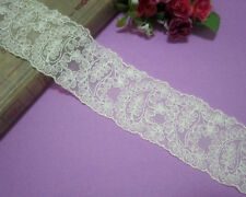 LOT  2 Yards Metallic Embroidered Tulle Lace Trim Light Yellow Wide 2 inches