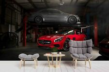 3D Red Car Vehicle Garage Self-adhesive Removable Wallpaper Murals Wall