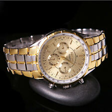 Luxury Men's Fashion Date Gold Dial Stainless Steel Analog Quartz Wrist Watches