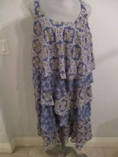 NWT BETHANY 18W BLUE/GOLD PAISLEY PRINT LINED PETAL LAYERED DRESS MSRP $98.00