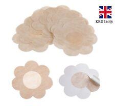20 X Adhesive Nipple Covers Flower Shaped Modesty Pads Bra Less Nude 10 Pairs UK