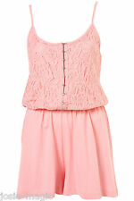 New Topshop UK 12 Hook Front Lace Playsuit in Baby Pink Summer Strappy Romper