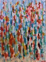 """Original expressionist oil painting signed by Nalan Laluk: """"Truth Drips Slowly"""""""