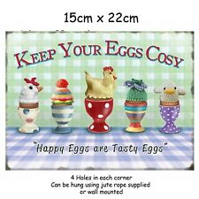 15x20cm Keep Your Eggs Cosy Retro Small Metal Advertising Wall Sign