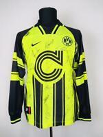 BORUSSIA DORTMUND 1996/1997 CUP FOOTBALL SHIRT FUßBALL TRIKOT BVB SIGNIERT L/S