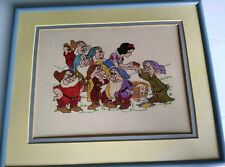 Vtg Finished Framed Snow White Disney Cross Stitch Needle Point Double mat 10x13