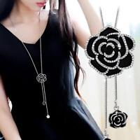 Black Rose Flower Necklace Women Fashion  Long Sweater Chain Crystal Jewelry New