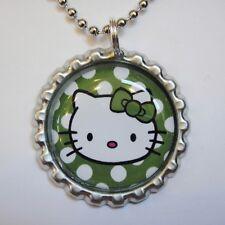 1 Beautiful HELLO KITTY POLKA DOTS Bottle Cap Necklace FLAT115