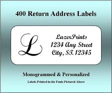 Monogrammed & Personalized Return Address Labels.  400 Count, 1/2 x 1.75 Inch.