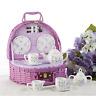 Delton Product Porcelain Tea Set in Basket Dragonfly