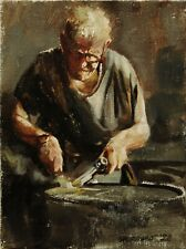 "Signed original oil painting on canvas ""The Welder"" 8x6 by O. Marrero"