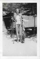 FISH LADY Vintage FOUND PHOTOGRAPH bw WOMAN Original Fishing Snapshot 911 20 E