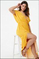 Forever 21 Plus Size Mustard SURPLICE FLORAL MAXI  Dress 2X/3X