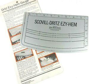 Vintage Scoville Dritz Ezy-Hem Metal Gauge Measuring Tool with Instructions Easy