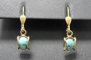 Ohrringe 333 GOLD 8 Karat earrings Türkis Ohrhänger Gelbgold Stein oro