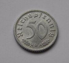 DRITTES REICH: 50 Reichspfennig 1940 D, J. 372, vorzüglich/prägefrisch
