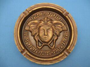 "dark old wood deco ashtray decoration smoker Medusa big ash tray stand cigar 5"""