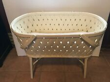 Vintage Fifties Antique Woven/Wicker Baby Bassinet with Mattress and Skirt