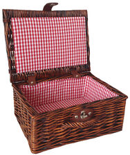 Traditional Brown Wicker Christmas Gift Hamper Basket & RED GINGHAM Lining 12""