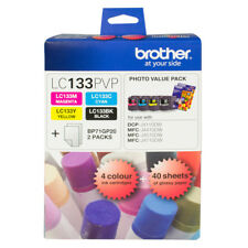 Brother Genuine LC-133PVP Photo Value Pack (4 Inks BK/C/M/Y + 40 Photo Papers)