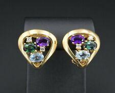 18k Gold H Stern 3ct Diamond Aquamarine Tourmaline Earrings French Clip EG1605