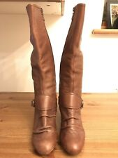 Brown Leather knee high Boots Size 6