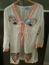 NWT LETARTE Embroidered Tie-Front Tunic Coverup Sz L-$298