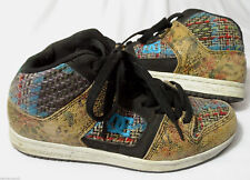 DC SHOES womens 7.5 MANTECA 2 Skateboard brown blue Low hi-tops Leather Skater