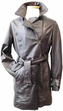 BOD & CHRISTENSEN BELTED SHORT TRENCH COAT ULTRA SOFT BROWN LEATHER FULL ZIP LG