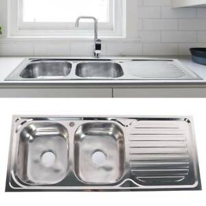 Stainless Steel Kitchen Countertop Sink Inset Double Bowl Reversible Drainer