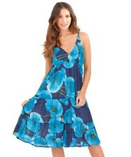 Ladies 100% Cotton Summer/Beach Blue Floral Sun Dress