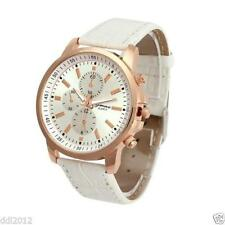 Ladies Fashion Rose Gold Geneva Quartz Silver Dial White Band Wrist Watch.