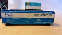 HO Scale Athearn 50' Plug Door Box Car, Evans Products, Blue, #455
