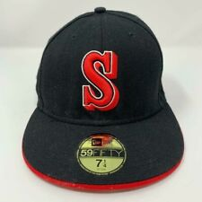Seattle Mariners MLB New Era 59Fifty Fitted Hat Black Red Cap Size 7 1/4 NWT