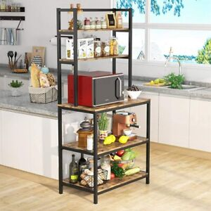 Free Standing 5-tier Spice Bakers Rack Microwave Oven Stand W/ Iron Tube Frame