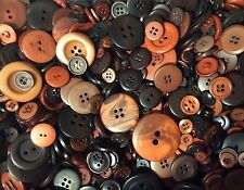 BROWN BUTTONS - 100G JOB LOT - MIXED SIZE & SHADE - ART CRAFT HOBBY CLOTHING